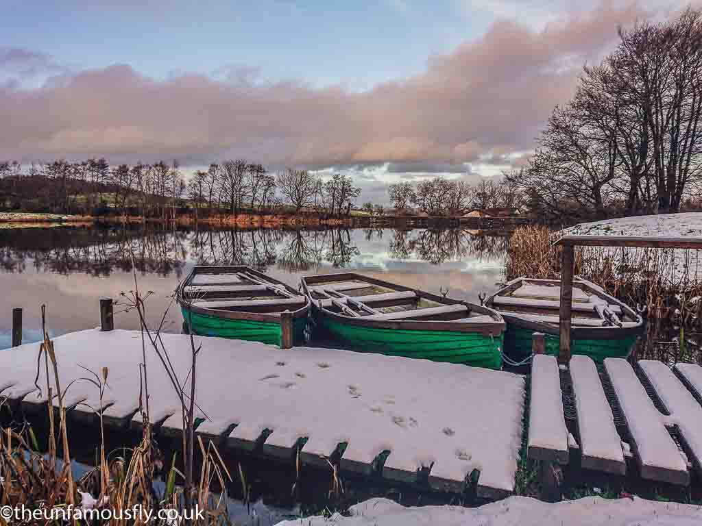 A snowy Swanswater looking over the boats.